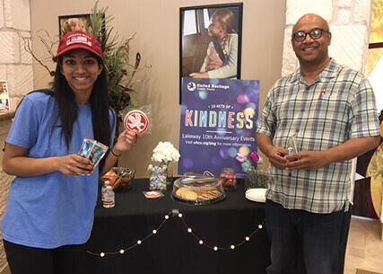 Photo of UHCU members with free cookies at Lakeway branch