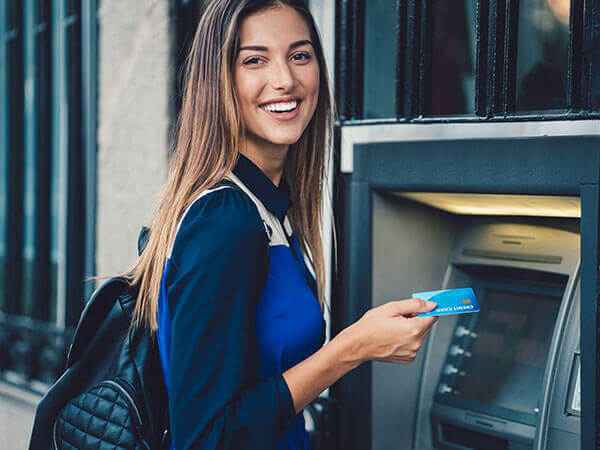 photo atm smiling woman